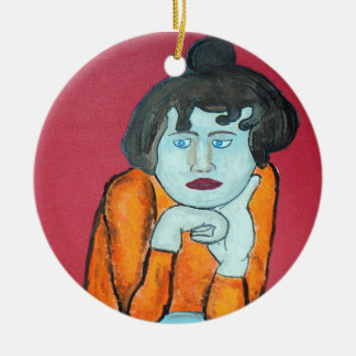 Woman s Face Study Christmas Tree Ornaments