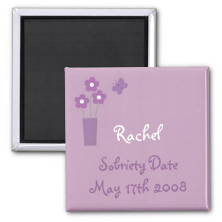 Woman´s lilac Sobriety Date magnet