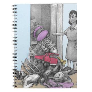 Woman's Stuff Falls Out of Closet Notebook