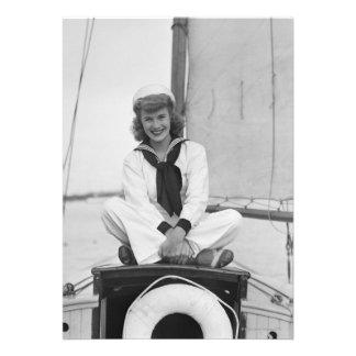 Woman Sailor Personalized Invitations