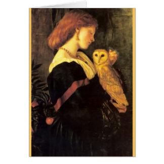 Woman Screech Owl antique painting Card