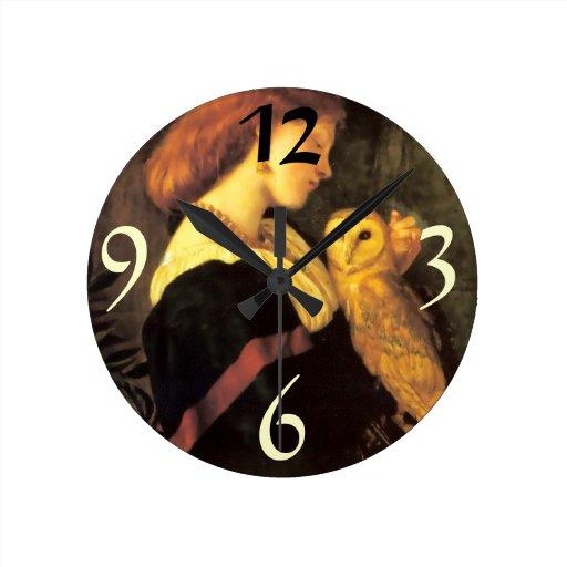 Woman Screech Owl antique painting Round Wallclocks