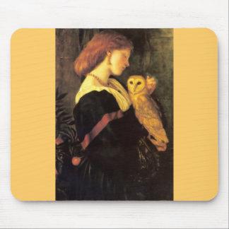Woman Screech Owl antique painting Mousepads