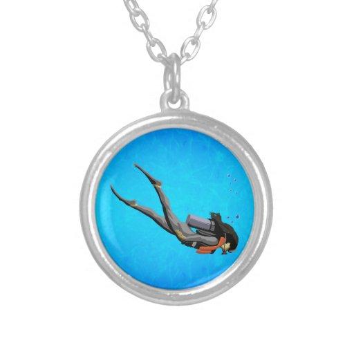 Woman SCUBA Diving Pendants