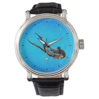 Woman SCUBA Diving Wrist Watch