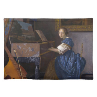 Woman Seated at a Virginal by Vermeer Place Mat