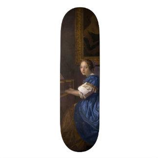 Woman Seated at a Virginal by Vermeer Skate Board Deck