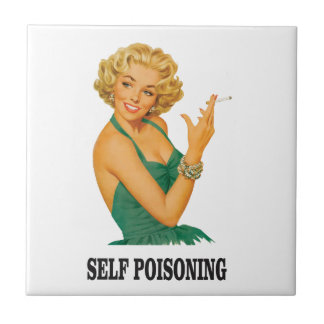 woman self poisoning small square tile