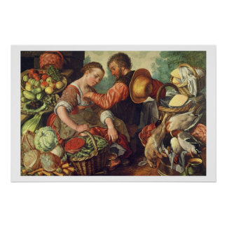 Woman Selling Vegetables, 1567 (oil on canvas) Poster