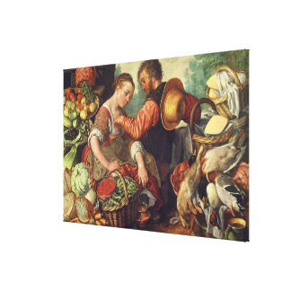 Woman Selling Vegetables, 1567 (oil on canvas) Stretched Canvas Prints