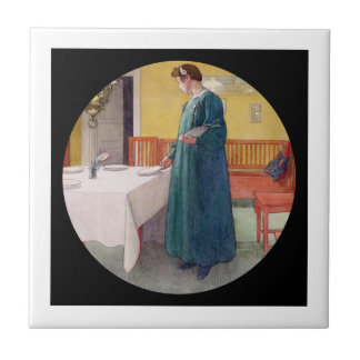 Woman Setting the Table Small Square Tile