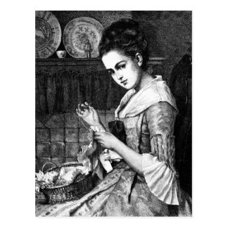 Woman Sewing Postcard