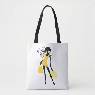 Woman Shopper In Yellow With Bags