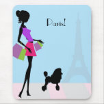 Woman Shopping in Paris Mouse Pad