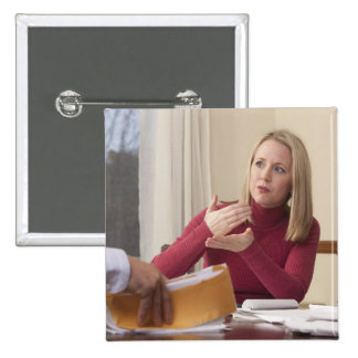 Woman signing the word 'Mortgage' in American 15 Cm Square Badge