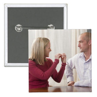 Woman signing word phrase 'Argument' in American 15 Cm Square Badge