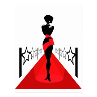 Woman silhouette on a red carpet with stars postcard