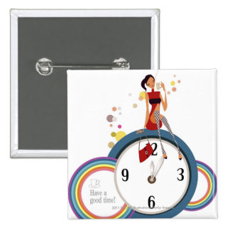 Woman sitting on a clock and holding a tea cup 15 cm square badge