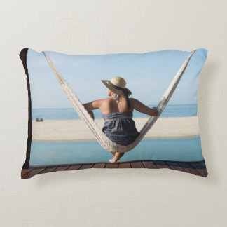 Woman Sitting On A Hammock At A Small Hotel Accent Cushion