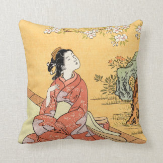 Woman Sitting Under Cherry Blossoms Cushion
