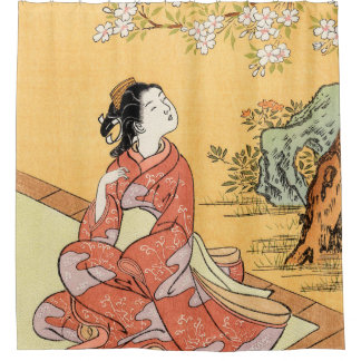 Woman Sitting Under Cherry Blossoms Shower Curtain