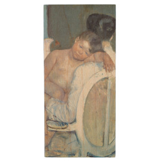 Woman Sitting with Child in Her Arms Mary Cassatt Wood USB 2.0 Flash Drive