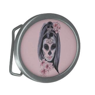 Woman skeleton mask belt buckle