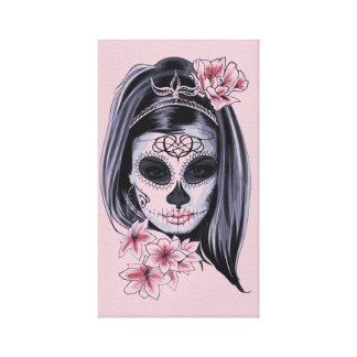 Woman skeleton mask canvas print