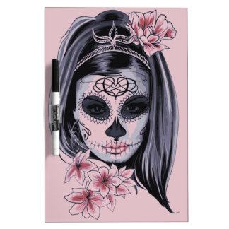 Woman skeleton mask dry erase board