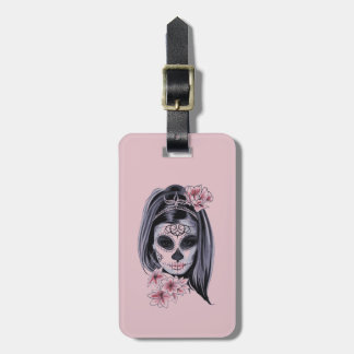 Woman skeleton mask luggage tag
