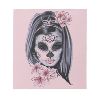 Woman skeleton mask notepad