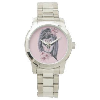 Woman skeleton mask watch