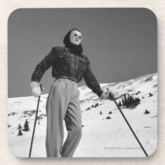 Woman Skier Drink Coaster