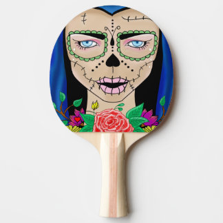 Woman skull with roses ping pong paddle