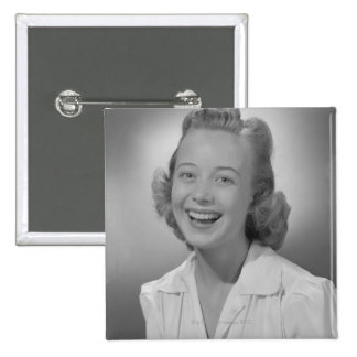 Woman Smiling 15 Cm Square Badge