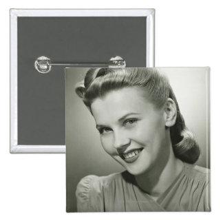 Woman Smiling 2 15 Cm Square Badge