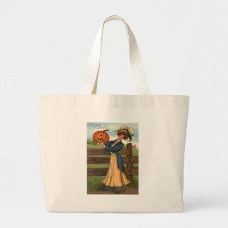 Woman Smiling Jack O' Lantern Pumpkin Farm Jumbo Tote Bag
