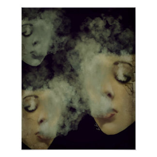Woman Smoke Vape Grunge Art Poster