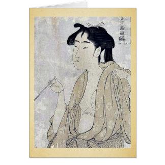 Woman smoking a pipe by Kitagawa, Utamaro Ukiyoe Card