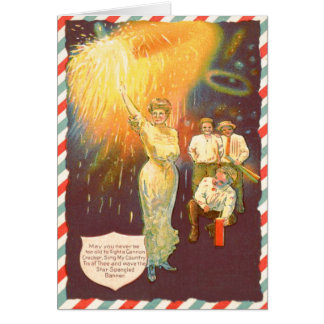 Woman Sparkler Firecracker Fireworks Greeting Card