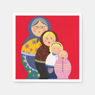 Woman Stages Of Life Matryoshka Dolls Paper Napkins