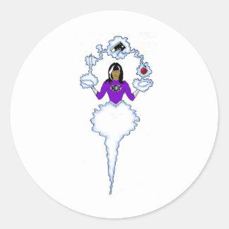 Woman Super Hero Round Sticker