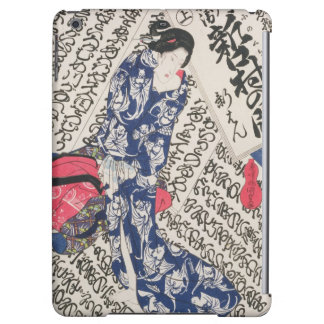 Woman surrounded by Calligraphy (colour woodblock iPad Air Case