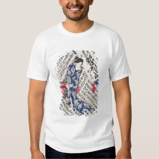 Woman surrounded by Calligraphy (colour woodblock Shirt