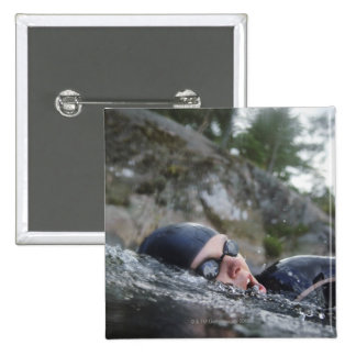 Woman swimming, close-up 15 cm square badge