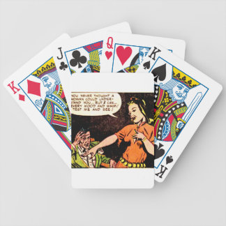 Woman Thinks she Understand a Man Bicycle Playing Cards