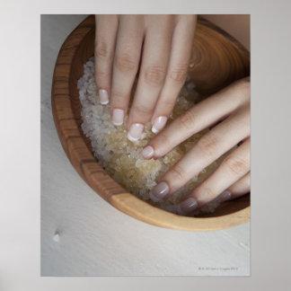 Woman touching bowl of sugar poster