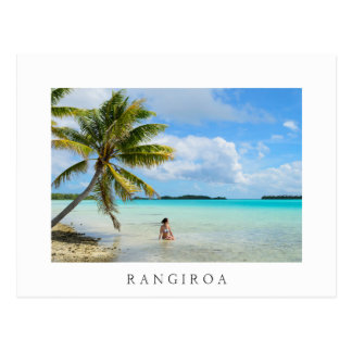 Woman under a palm tree white Rangiroa postcard