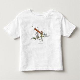 Woman using an astronomy telescope toddler T-Shirt