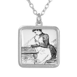 Woman Using Old Airbrush Silver Plated Necklace